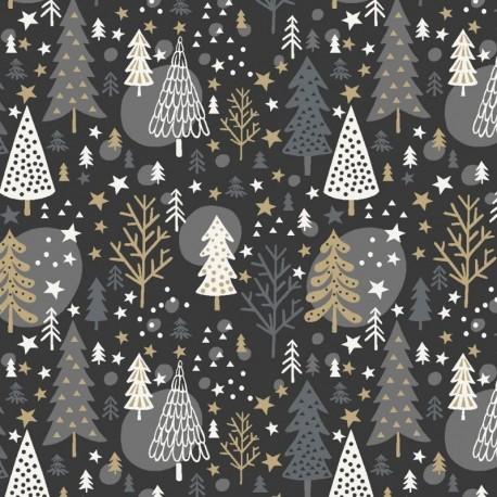 Tissu Noël Imprimé Navidad Anthracite