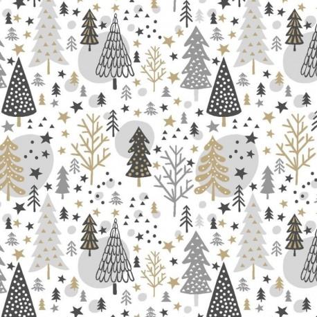 Tissu Noël Imprimé Navidad Blanc