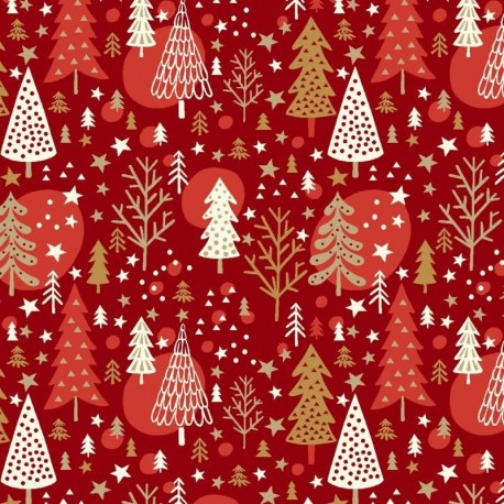 Tissu Noël Imprimé Navidad Rouge
