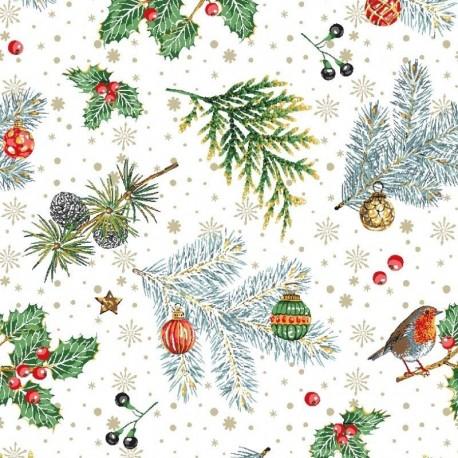 Tissu Noël Imprimé Rouge Gorge Blanc