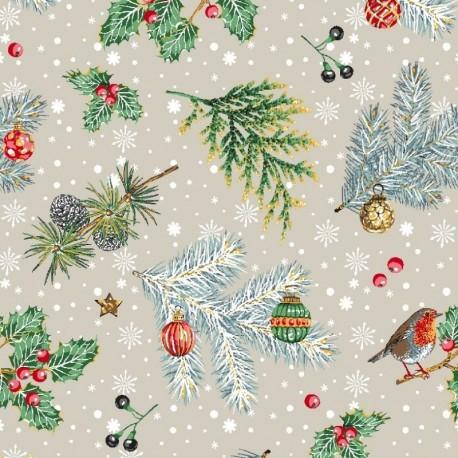 Tissu Noël Imprimé Rouge Gorge Lin