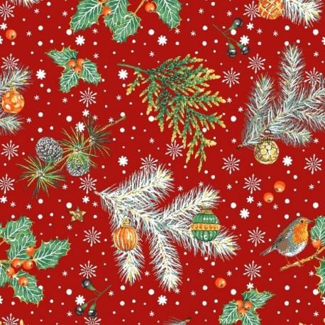 Tissu Noël Imprimé Rouge Gorge Rouge