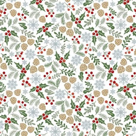 Tissu Noël Imprimé Vosges Blanc