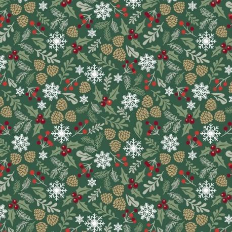 Tissu Noël Imprimé Vosges Vert