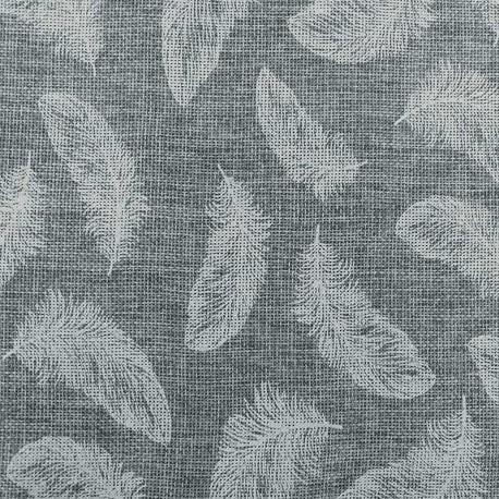 Tissu Toile de Jute Imprimé Plume Blanc