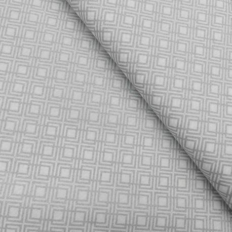 Tissu Coton Imprimé Géométrique Lurex Argent
