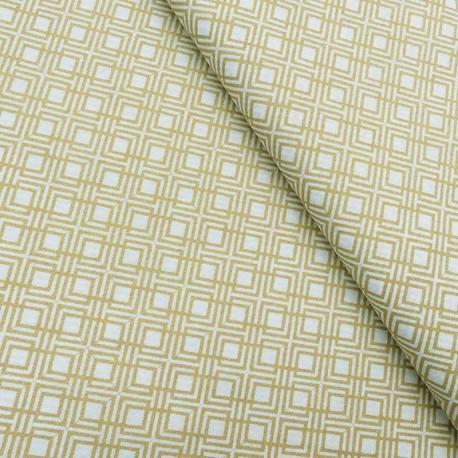 Tissu Coton Imprimé Géométrique Lurex Or