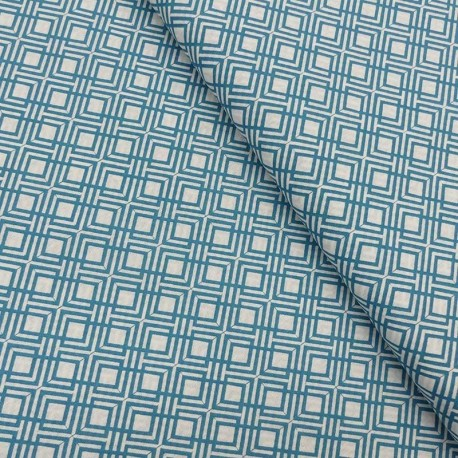 Tissu Coton Imprimé Géométrique Bleu