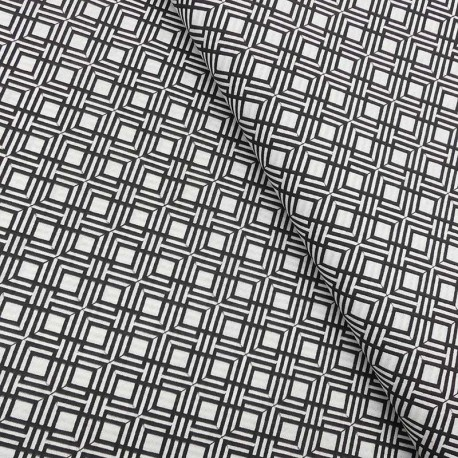 Tissu Coton Imprimé Géométrique Noir