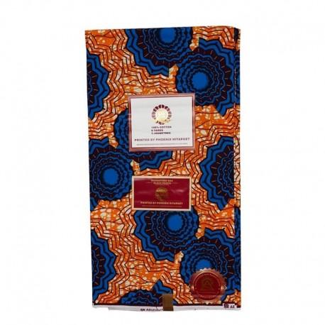 Coupon Style Wax Motif Bleu Fond Orange