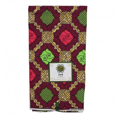Coupon Style Wax Motif Vert et Jaune Fond Rose