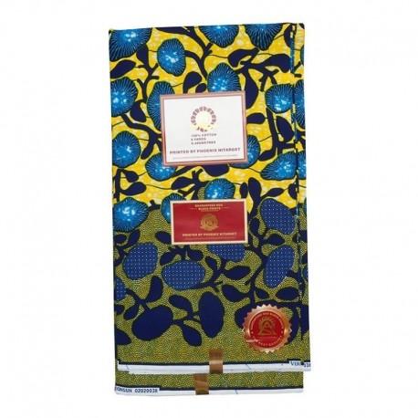 Coupon Style Wax Motif Floral Bleu Fond Jaune