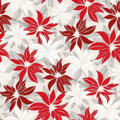 Tissu Euphorbia Natte Rouge