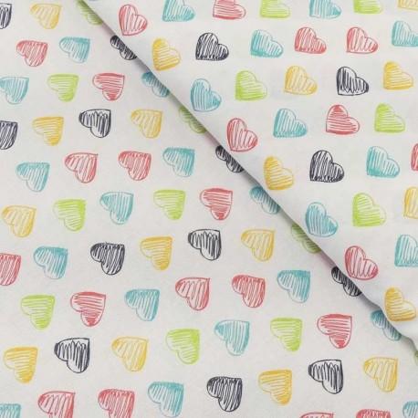 Tissu Popeline Impression Digicolour Hearts Coeur Multico