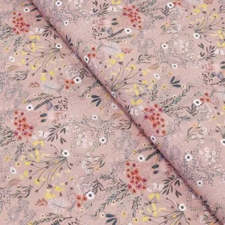 Tissu Popeline Impression Digitale Lib Modern Fleur Rose