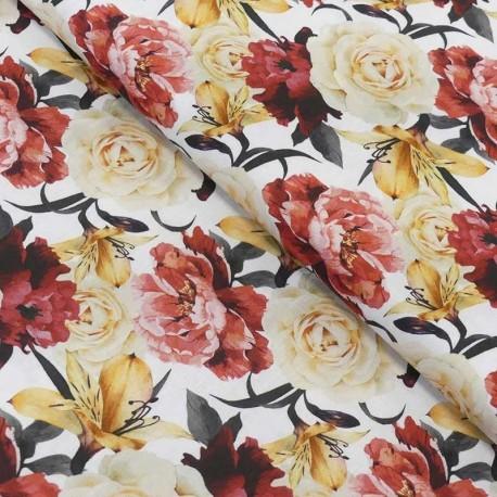 Tissu Popeline Impression Digitale Ros Ramo Roses Rouge
