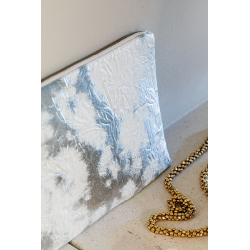 Tissu Simili Wrinkle Argent Blanc
