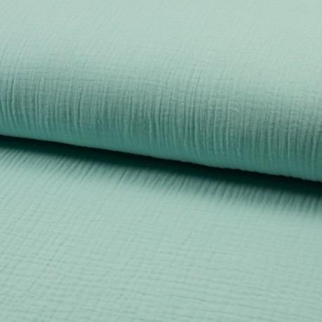 Tissu Double Gaze Uni Menthe