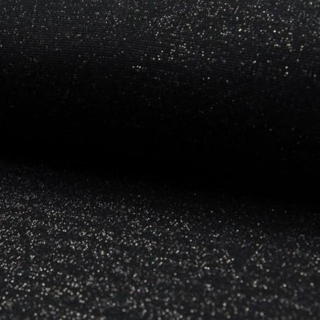 Tissu Bord Cote Uni Lurex Noir