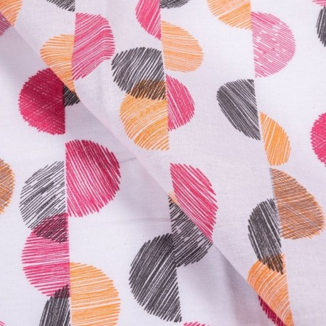 Tissu Coton Imprimé Lunel Corail