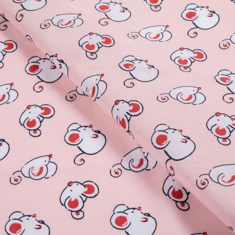 Tissu Coton Imprimé Mouse Rose