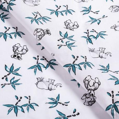 Tissu Coton Imprimé Panda Petrole