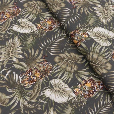 Tissu Popeline Tropic Imprimé Leopard Noir