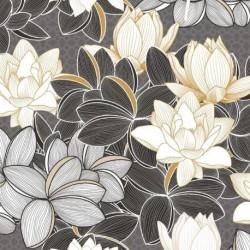 Tissu Satin Lotus Noir