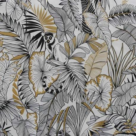 Tissu Bachette Gold Jungle Blanc noir or