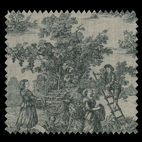 echantillon tissu toile de jouy pastorale lin noir tissus des ursules. Black Bedroom Furniture Sets. Home Design Ideas