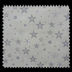 Tissu Coton de Noël Imprimé Etoile Fond Ecru