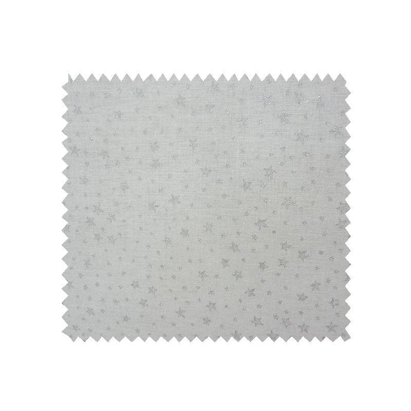 Tissu Coton De Noël Imprimé All Over Etoiles Fond Ecru