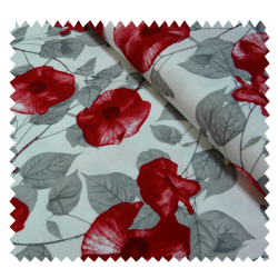 Tissu St Val Fleur Rouge