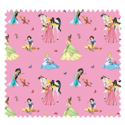 Tissu Disney Princesse Fond Rose