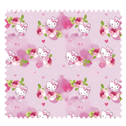 Tissu Hello Kitty Fond Rose