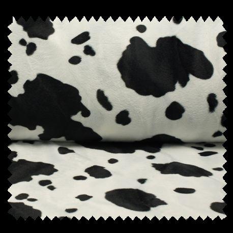 Tissu Fausse Fourrure Vache Blanc Noir
