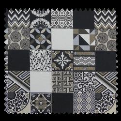 Tissu Jacquard Cubes Wall Mini Noir Gris Crème