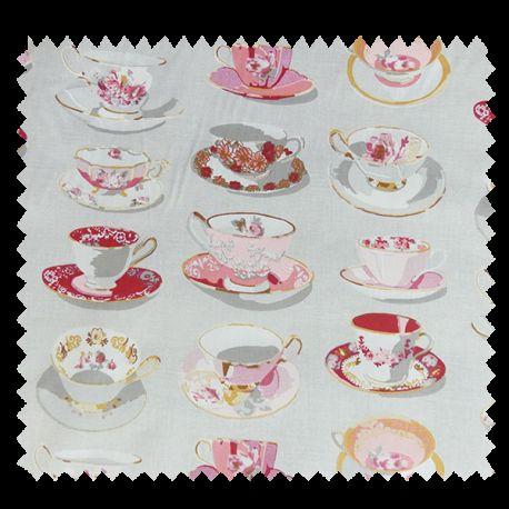 Tissu Cretonne Tea Time Gris Rouge