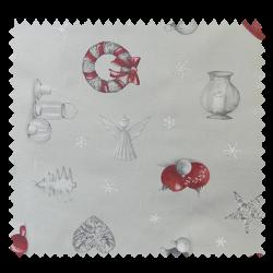 Tissu Bachette Etoiles De Noël Gris