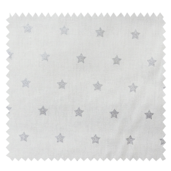 Tissu Cretonne Stars Blanc Argent