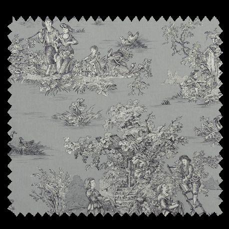 tissu bachette imprim toile de jouy pastorale gris tissus des ursules. Black Bedroom Furniture Sets. Home Design Ideas