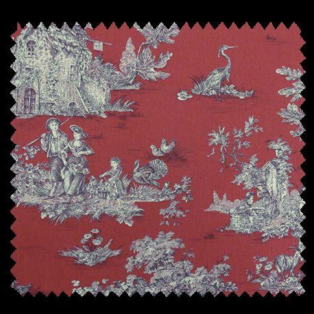 tissu bachette imprim toile de jouy pastorale rouge tissus des ursules. Black Bedroom Furniture Sets. Home Design Ideas