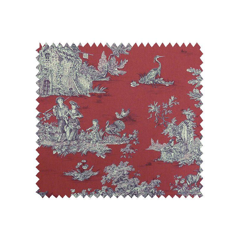 tissu bachette imprim toile de jouy pastorale rouge blanc tissus des ursules. Black Bedroom Furniture Sets. Home Design Ideas