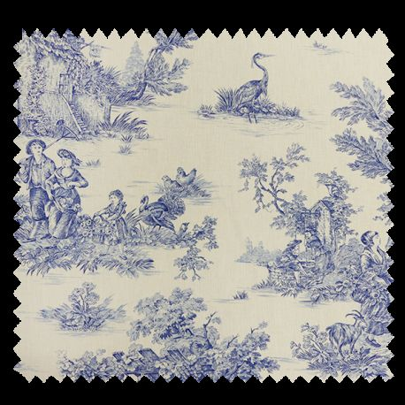tissu bachette imprim toile de jouy pastorale bleu tissus des ursules. Black Bedroom Furniture Sets. Home Design Ideas