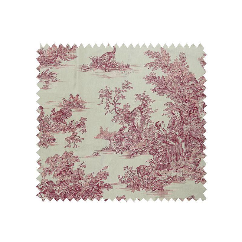tissu bachette imprim toile de jouy pastorale blanc rouge tissus des ursules. Black Bedroom Furniture Sets. Home Design Ideas