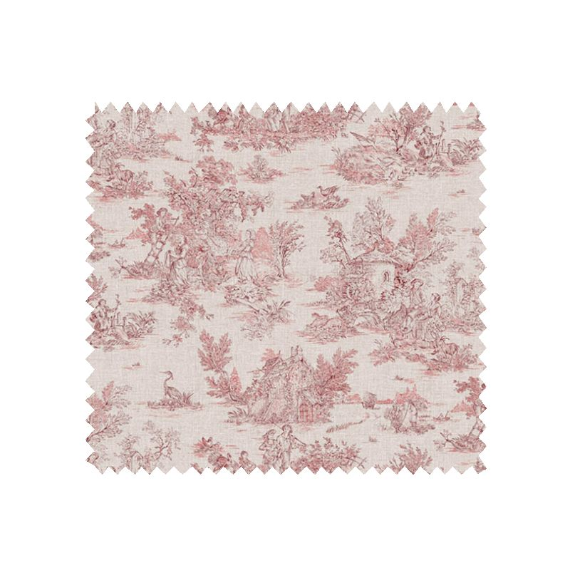 tissu cretonne toile de jouy mini pastorale rouge tissus des ursules. Black Bedroom Furniture Sets. Home Design Ideas
