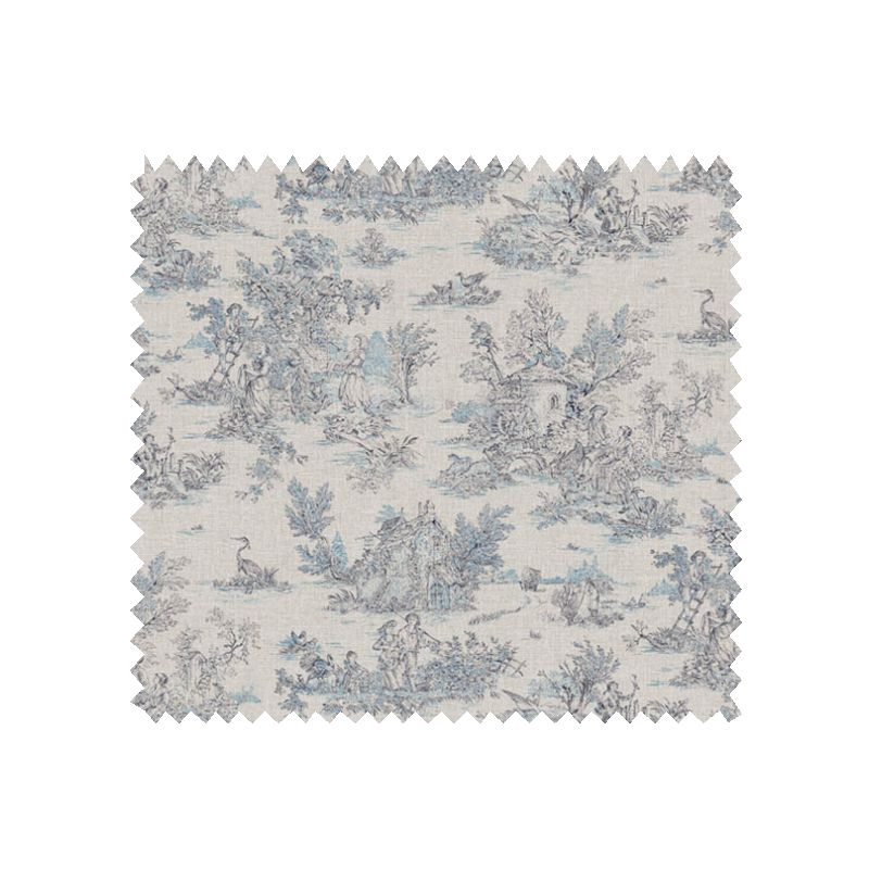 tissu cretonne toile de jouy mini pastorale bleu tissus des ursules. Black Bedroom Furniture Sets. Home Design Ideas