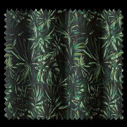 Tissu Jacquard Monga Bay Fond Noir Palmier Vert