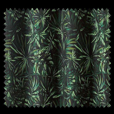 tissu jacquard monga bay fond noir palmier vert tissus des ursules. Black Bedroom Furniture Sets. Home Design Ideas