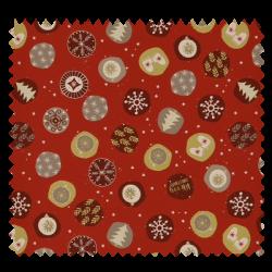 Tissu Coton De Noël Imprimé Fond Rouge